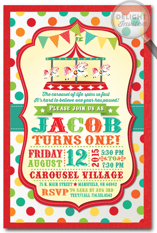 Carnival Carousel Boys Birthday Invitation